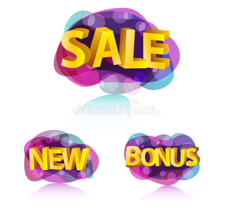 Coleção abstrata moderna do sinal da bolha da venda ilustração royalty free