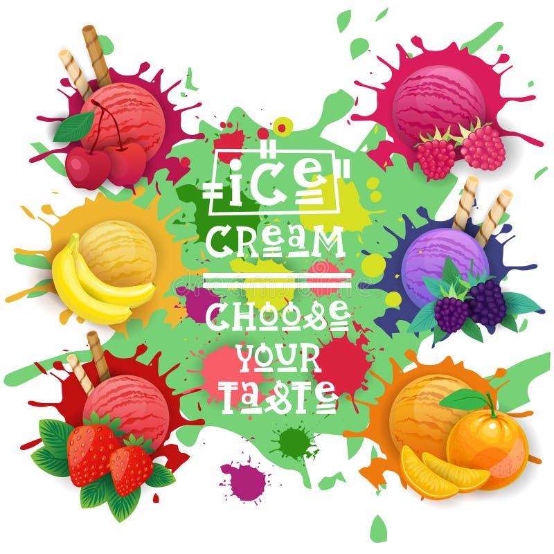 A coleção ajustada bolas das sobremesas do fruto do gelado escolhe seu cartaz do café do gosto ilustração do vetor