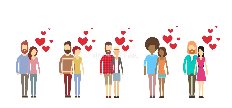 Coleção ajustada da forma do coração do abraço dos amantes de Valentine Day Holiday Silhouette Couple ilustração stock