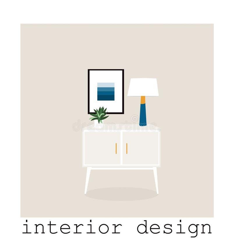 Coleção ajustada da mobília moderna meados de do século ilustração 1950 1960 do vetor desenho de design de interiores ilustração royalty free