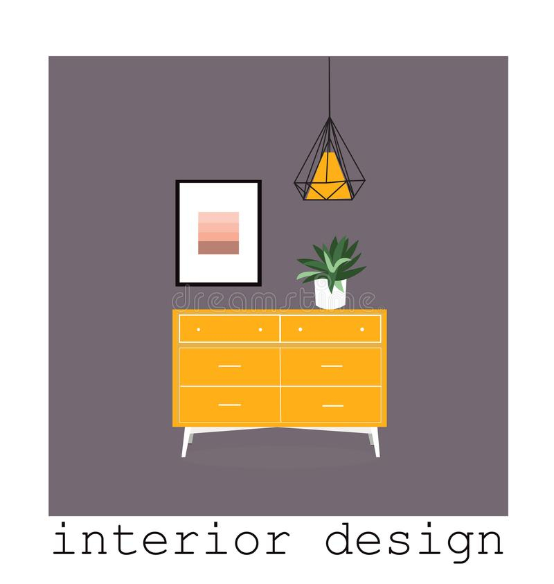 Coleção ajustada da mobília moderna meados de do século ilustração 1950 1960 do vetor desenho de design de interiores ilustração do vetor