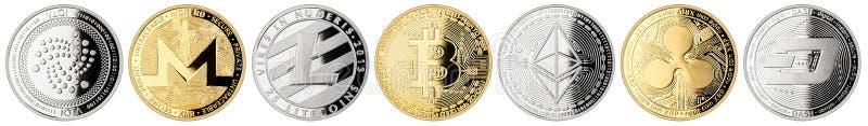 Coleção ajustada da moeda cripto da moeda imagens de stock royalty free