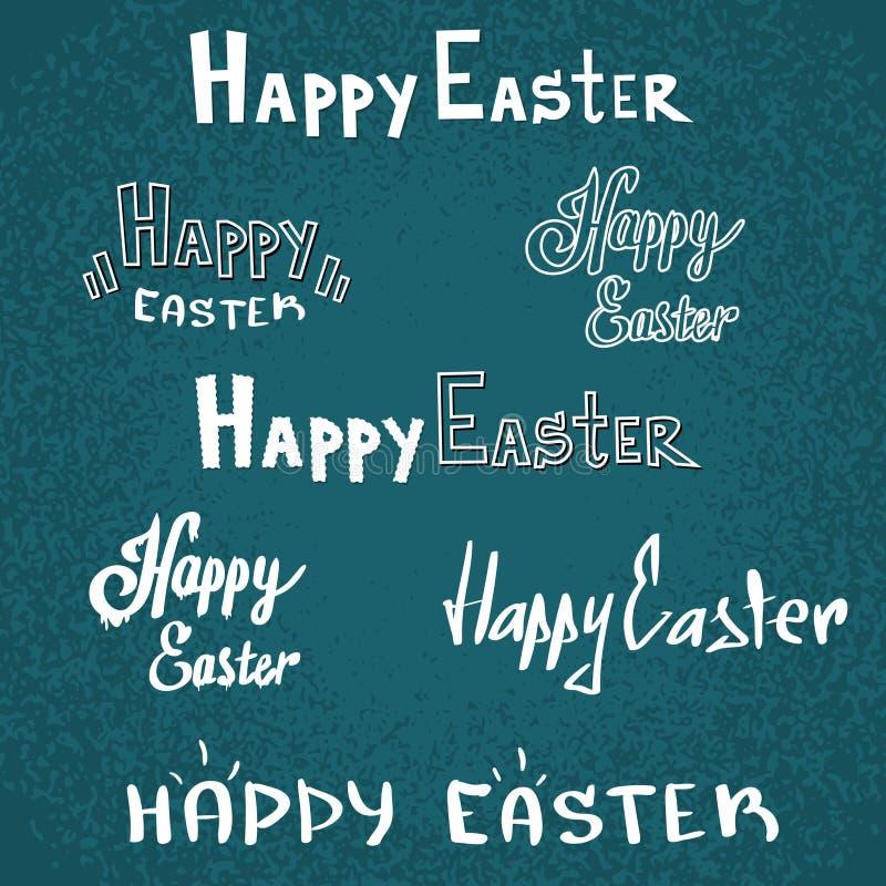 Coleção ajustada do esboço feliz da fonte do texto do feriado da Páscoa ilustração stock