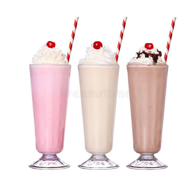 Coleção ajustada do gelado do sabor do chocolate dos milks shake fotos de stock royalty free