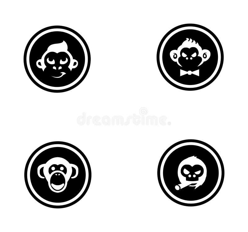 Coleção ajustada do logotipo do macaco ilustração do vetor