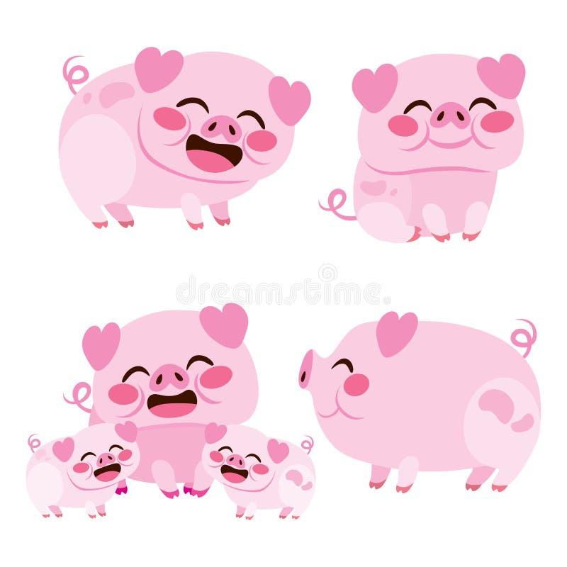 Coleção ajustada do porco feliz ilustração stock