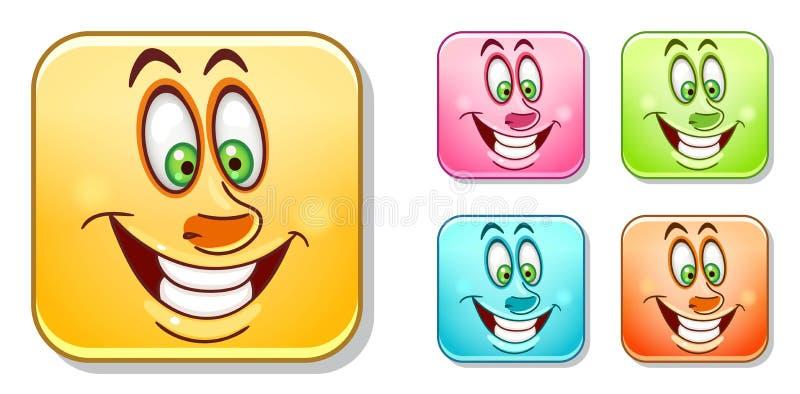 Coleção alegre feliz dos Emoticons ilustração royalty free