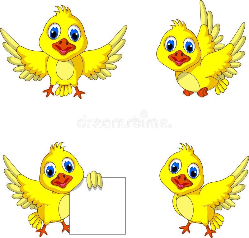 Coleção amarela bonito dos desenhos animados do pássaro ilustração stock