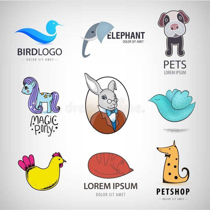 Coleção animal do logotipo, pássaro, coelho, gato, raposa, cão, galinha, pônei, ícones do elefante ilustração stock