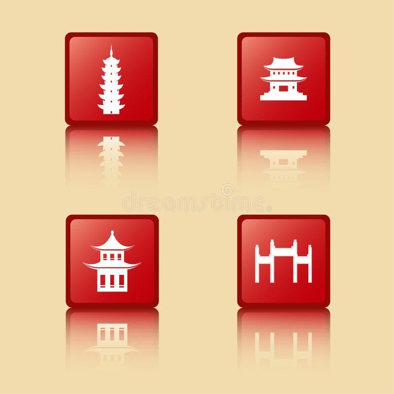 Coleção antiga chinesa dos ícones das construções, torre, pavilhão, templo, arcada ilustração royalty free