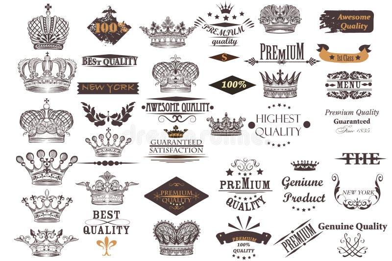 A coleção antiga grande do vetor coroa e etiquetas para o vintage d ilustração royalty free