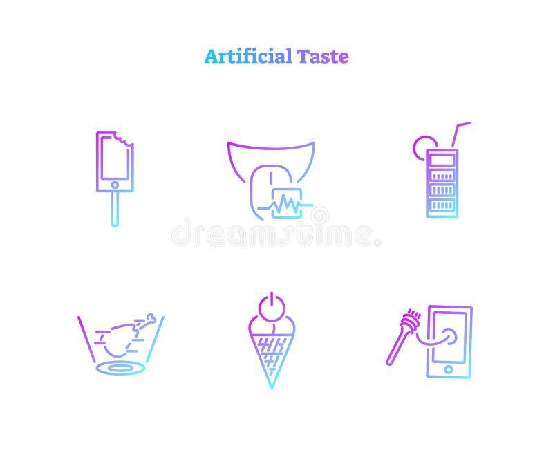 Coleção artificial dos ícones do conceito do gosto Grupo de símbolo bioquímico virtualmente gerado da tecnologia do alimento digi ilustração stock