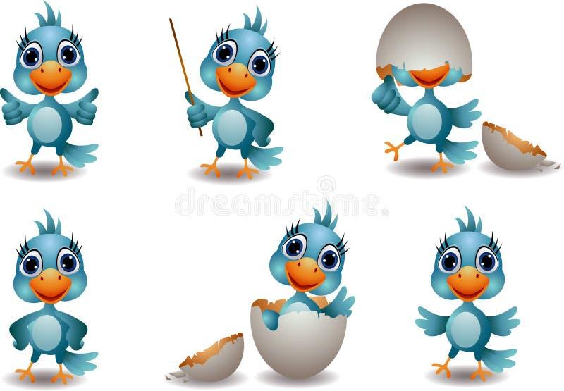 Coleção azul bonito do pássaro ilustração stock