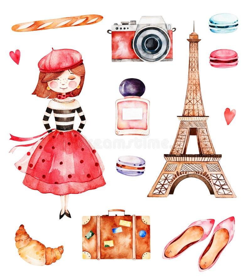 Coleção bonita do verão com torre Eiffel ilustração royalty free
