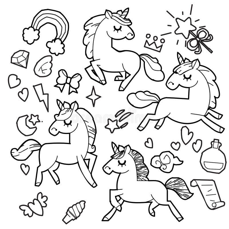 Coleção bonito com artigos mágicos, arco-íris do unicórnio e do pônei, asas feericamente, cristais, nuvens, poção Linha estilo ti ilustração royalty free