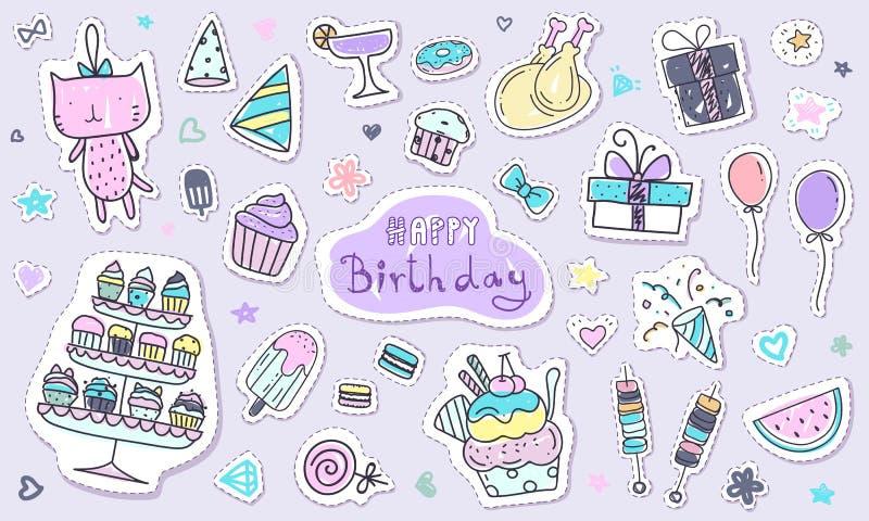 Coleção bonito da etiqueta do feliz aniversario no estilo da garatuja Elemento tirado mão do kawaii na cor pastel ilustração stock
