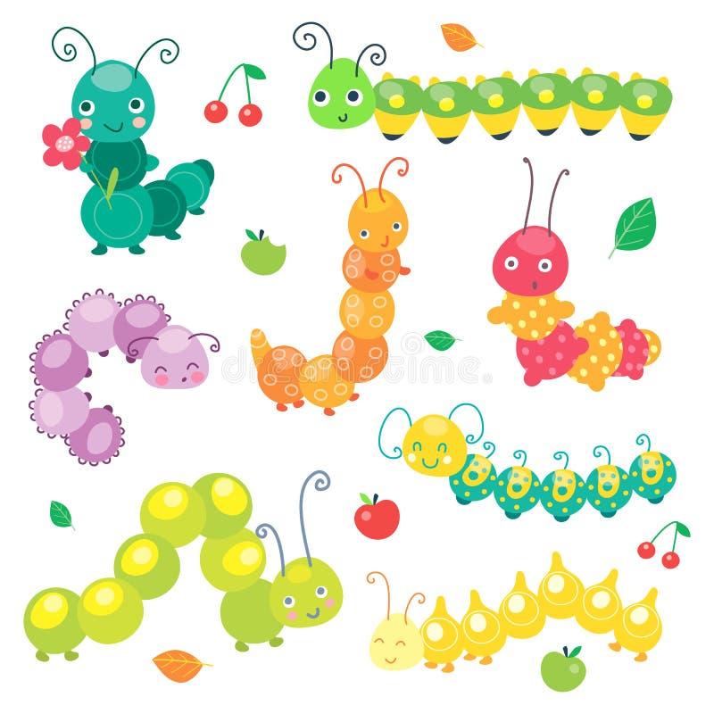 Coleção bonito de sorriso engraçada verde da lagarta Caráter do inseto para o bebê e as crianças ilustra??o do vetor, desenhos an ilustração stock