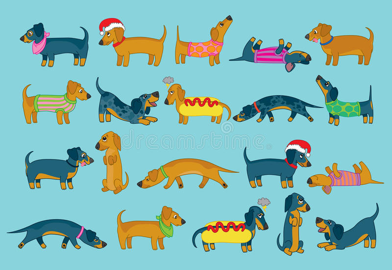 Para o amor de cães de salsicha! ilustração do vetor