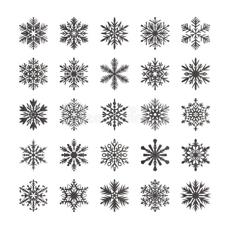 Coleção bonito do floco de neve isolada no fundo branco Os ícones lisos da neve, neve lascam-se silhueta Flocos de neve agradávei ilustração do vetor