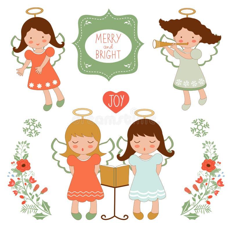 Coleção bonito do Natal com anjos felizes e ilustração do vetor