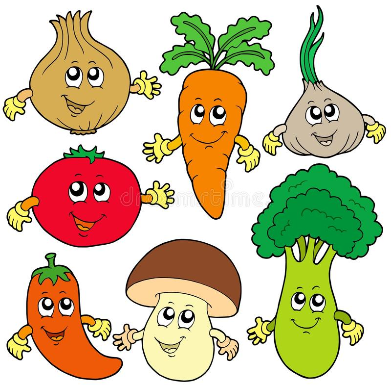 Coleção bonito do vegetal dos desenhos animados ilustração royalty free