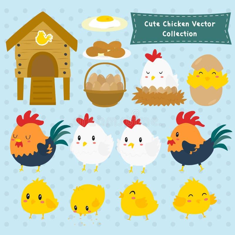 Coleção bonito do vetor das galinhas da exploração agrícola ilustração royalty free