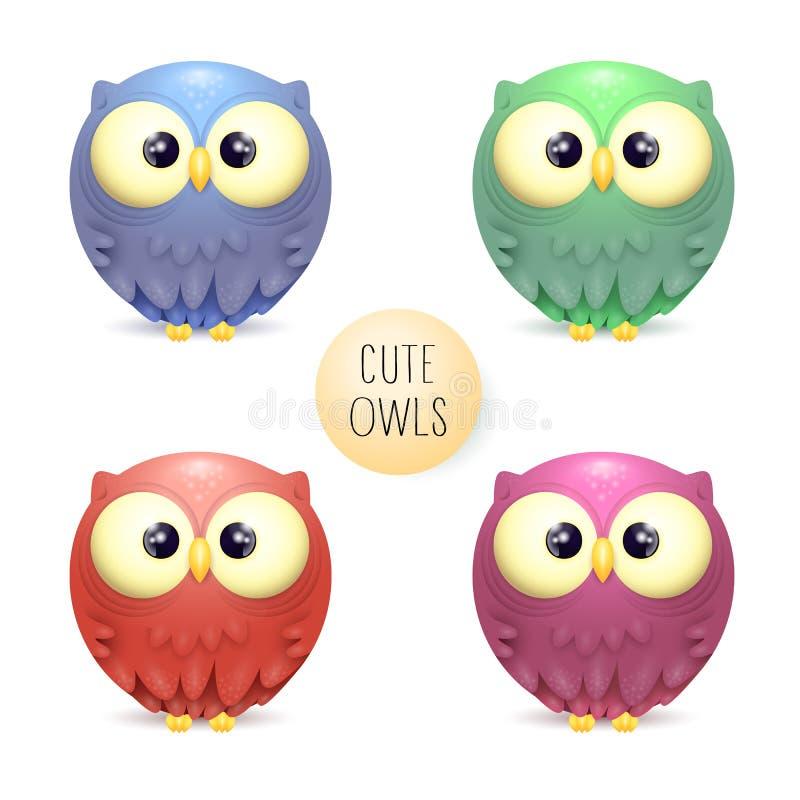 Coleção bonito do vetor de corujas multicoloridos brilhantes ilustração royalty free