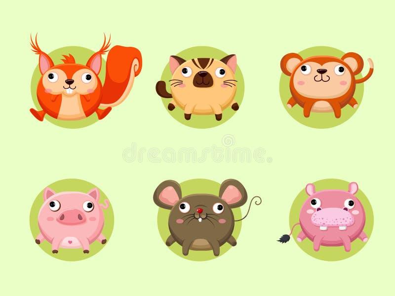 Coleção bonito dos animais dos desenhos animados Ilustra??o do vetor com o animal engra?ado do estilo dos desenhos animados ilustração do vetor