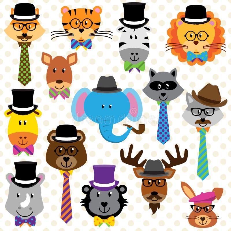 Coleção bonito dos desenhos animados de animais bem vestidos ilustração stock