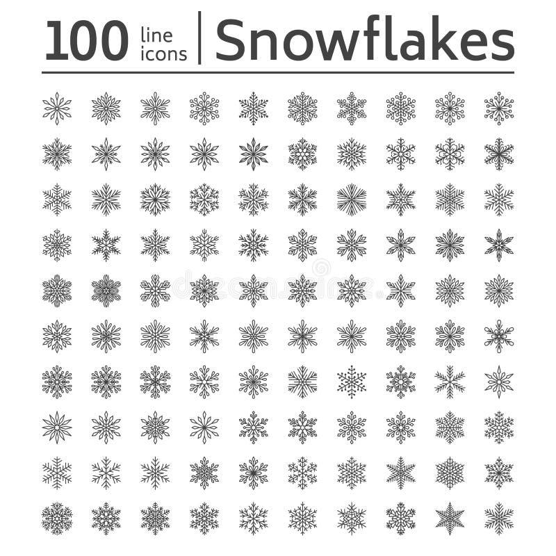 Coleção bonito dos flocos de neve isolada no fundo branco A linha lisa ícones da neve empacota, neva silhueta dos flocos agradáve ilustração do vetor