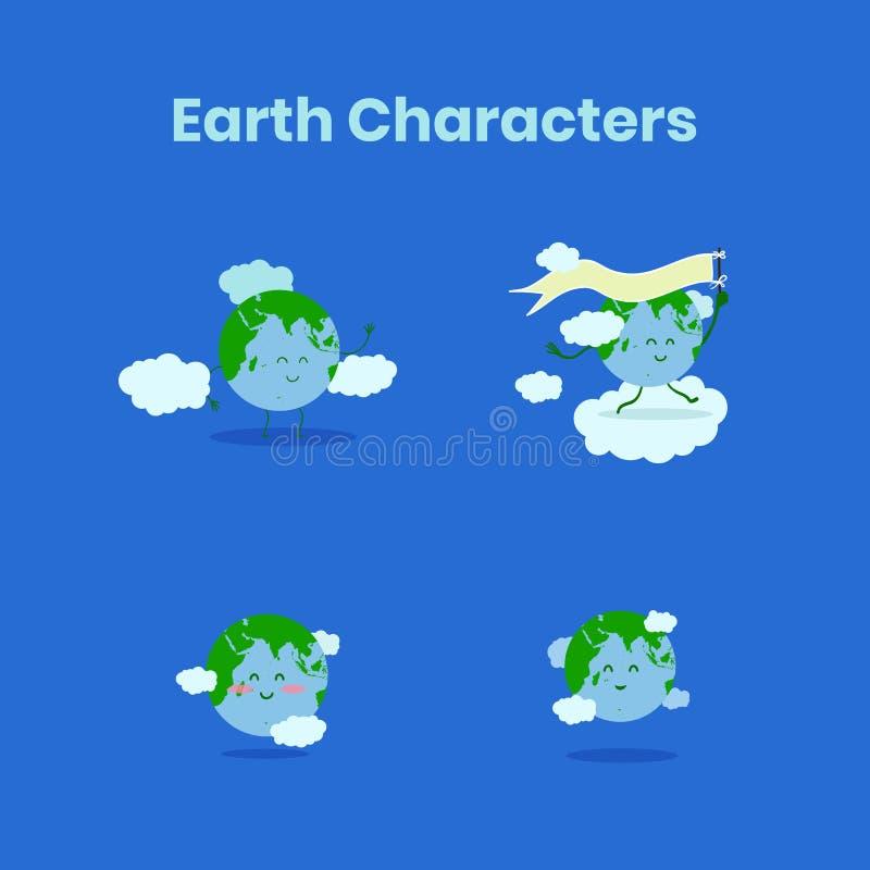 Coleção bonito e engraçada do caráter da terra para o Dia da Terra ilustração royalty free
