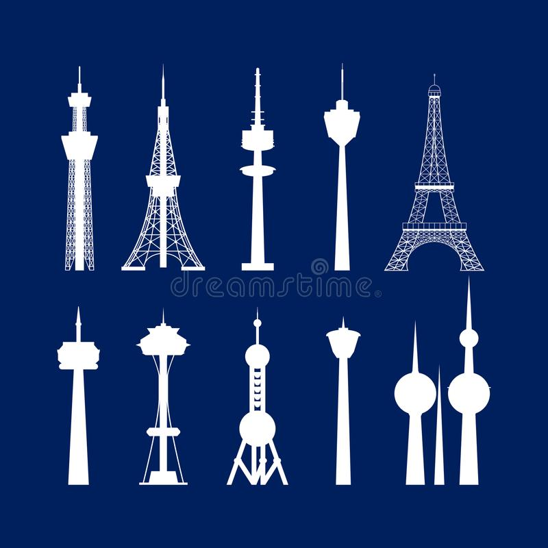 Coleção branca das torres altas da silhueta dos desenhos animados Vetor ilustração stock