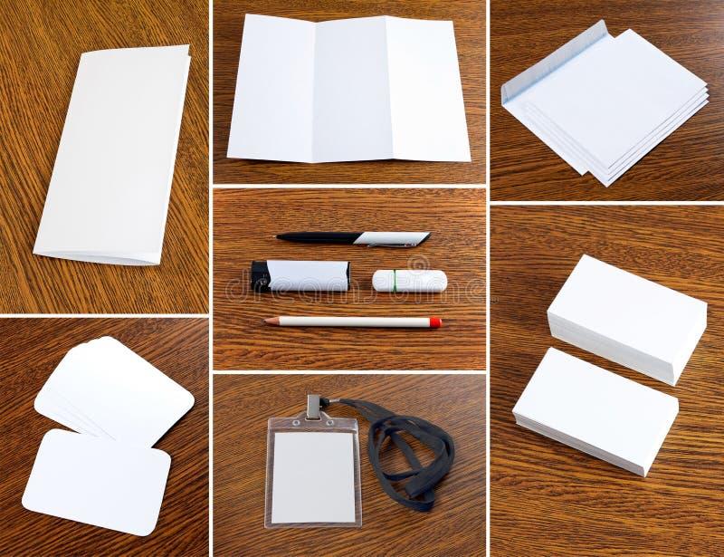 Coleção branca dos artigos de papelaria fotos de stock