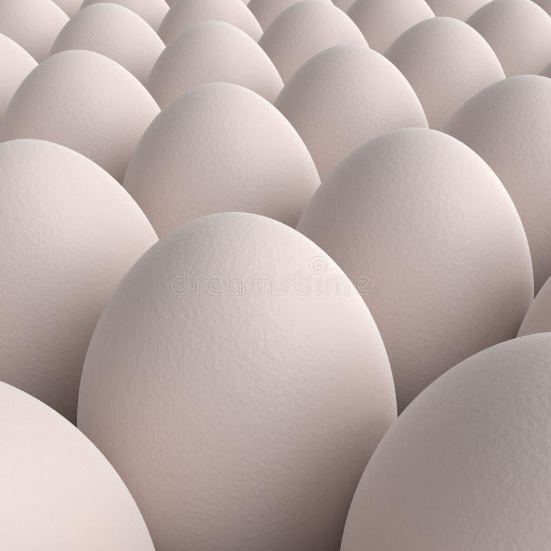 Cole??o branca dos ovos da galinha 3d rendem ilustração royalty free