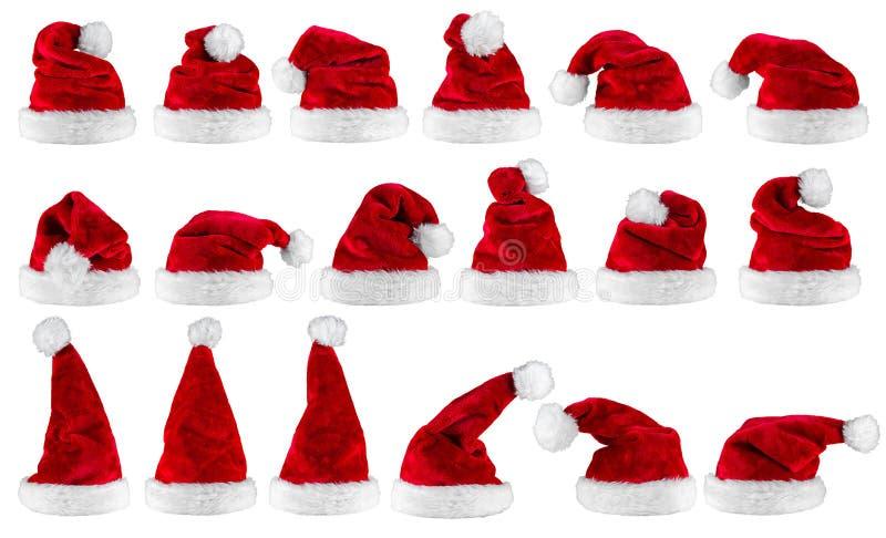 Coleção branca vermelha do chapéu de Papai Noel imagens de stock royalty free