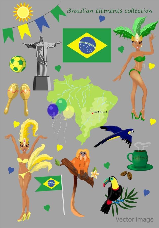 Coleção brasileira dos elementos ilustração stock