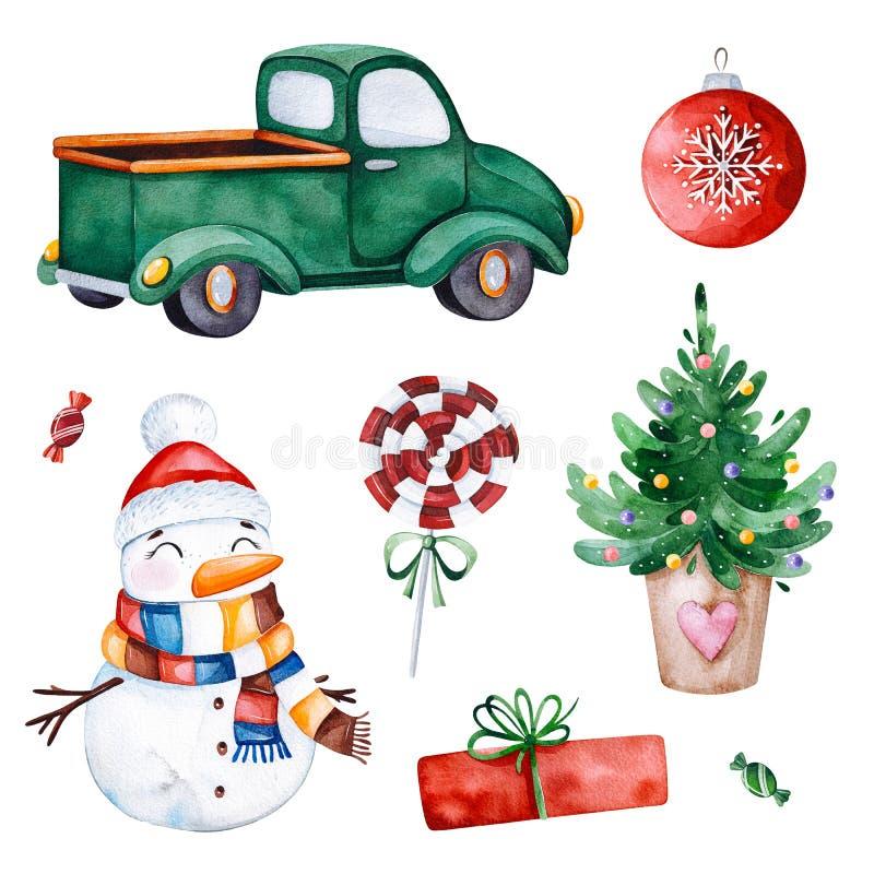 Coleção brilhante com árvore de Natal, doces, caminhão, presentes, boneco de neve e mais ilustração do vetor