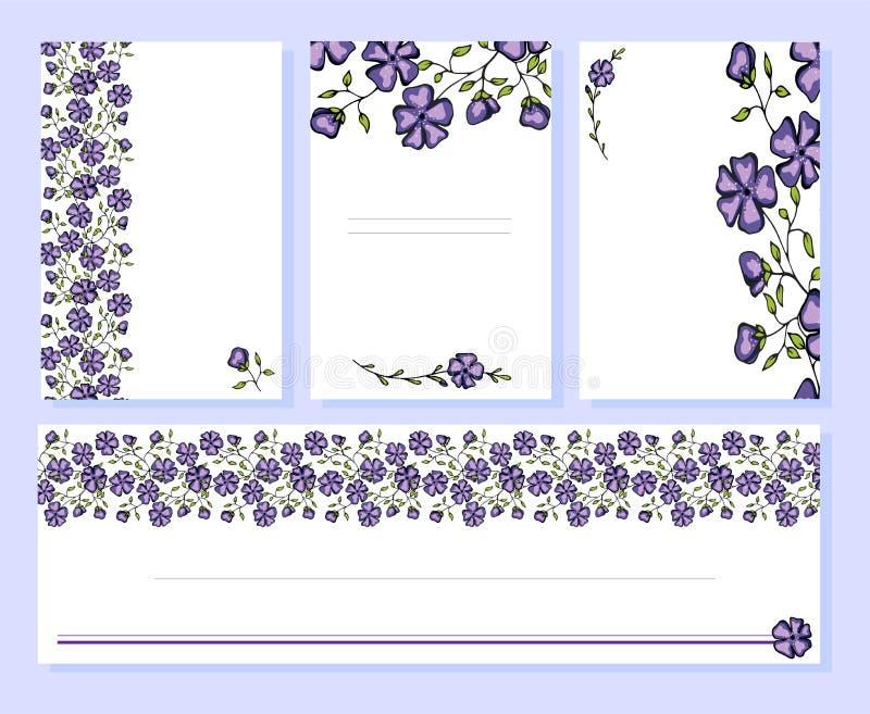 A coleção brilhante do vetor dos cartões, envelopes floresce o quadro com as flores coloridas decorativas ilustração royalty free