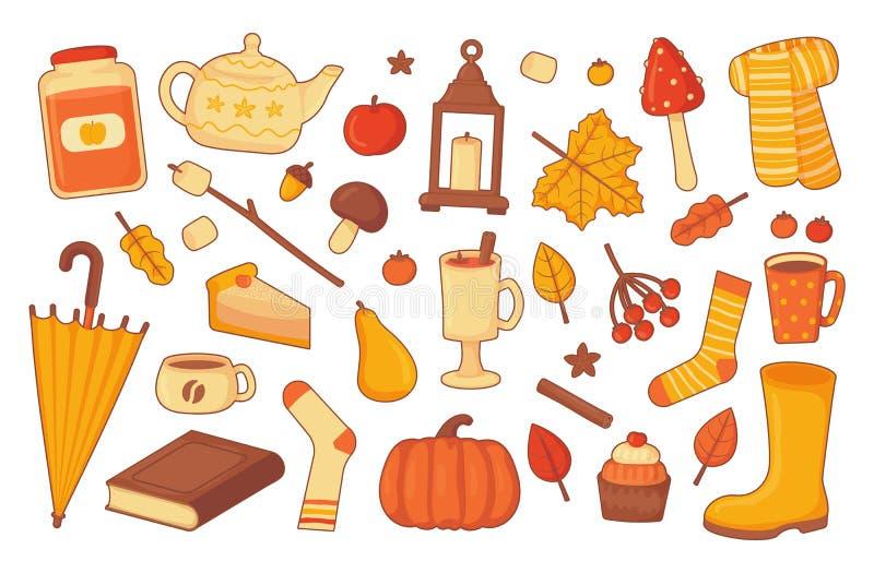 Coleção brilhante dos elementos do outono do Cosiness com oytlines ilustração royalty free