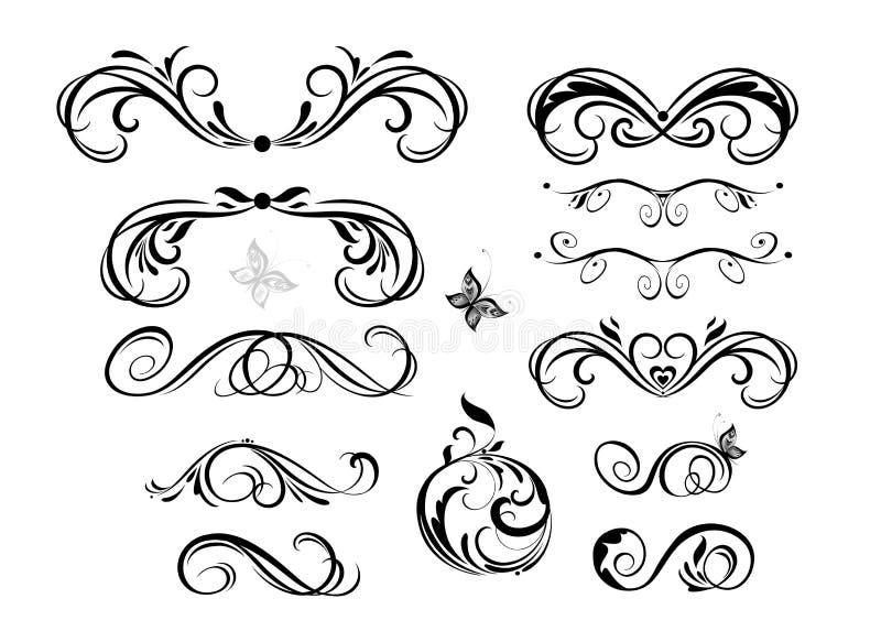 Coleção caligráfica dos encabeçamentos do vintage para o projeto do casamento, etiquetas do fahion, cartão do menu, restaurante,  ilustração do vetor