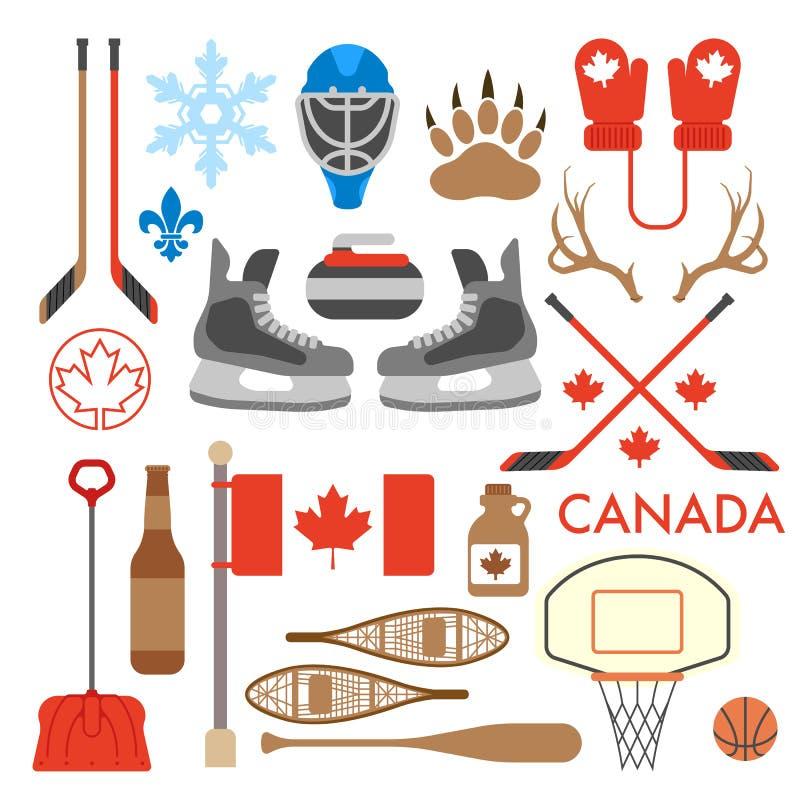 Coleção canadense de ícones do vetor imagens de stock royalty free