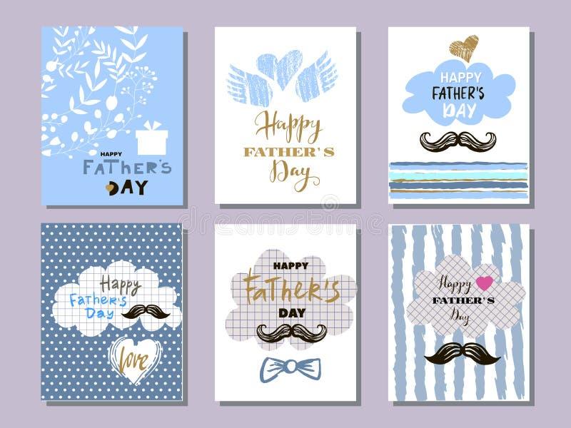 Coleção cards8 do dia do ` s do pai ilustração do vetor