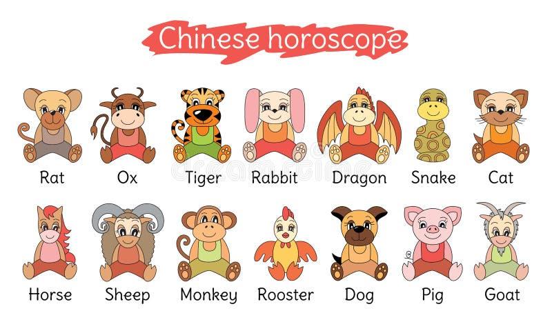 Coleção chinesa do horóscopo Grupo do sinal do zodíaco Porco, rato, boi, tig ilustração stock
