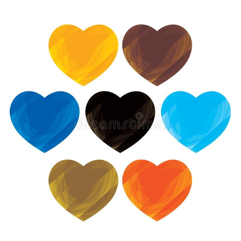 A coleção colorida artística abstrata do coração assina (os ícones) ilustração stock
