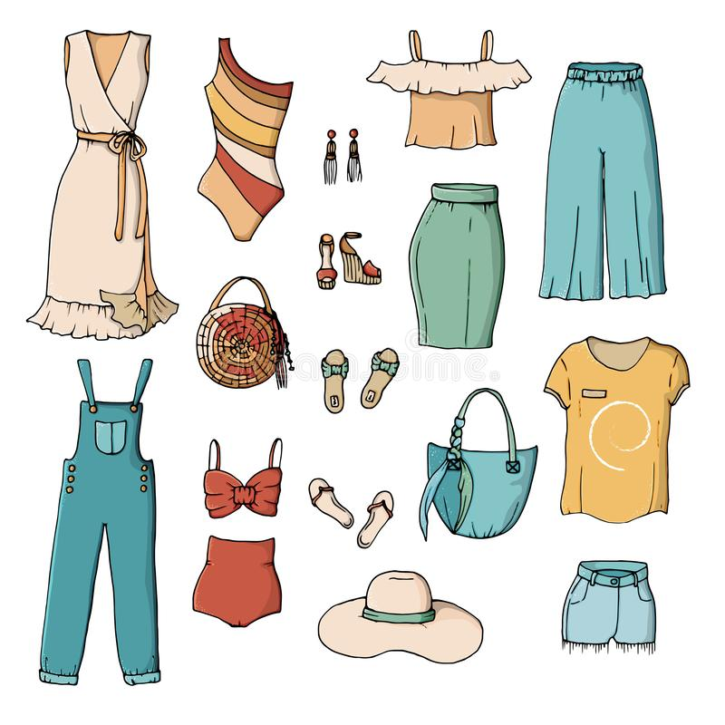 Coleção colorida da roupa do verão de Digitas ilustração do vetor