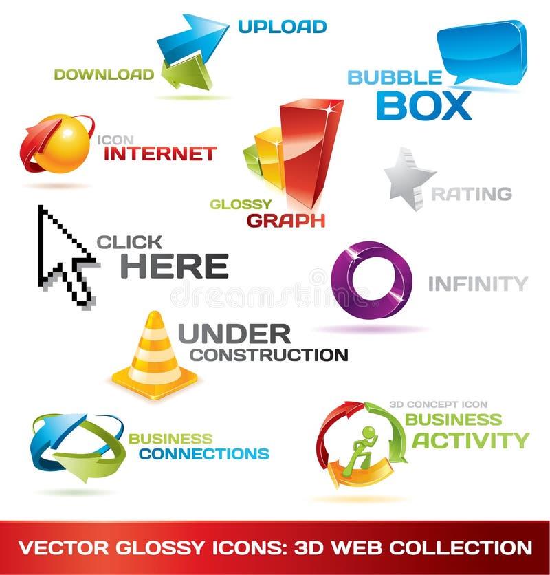 Coleção colorida de ícones do Web 3d ilustração do vetor