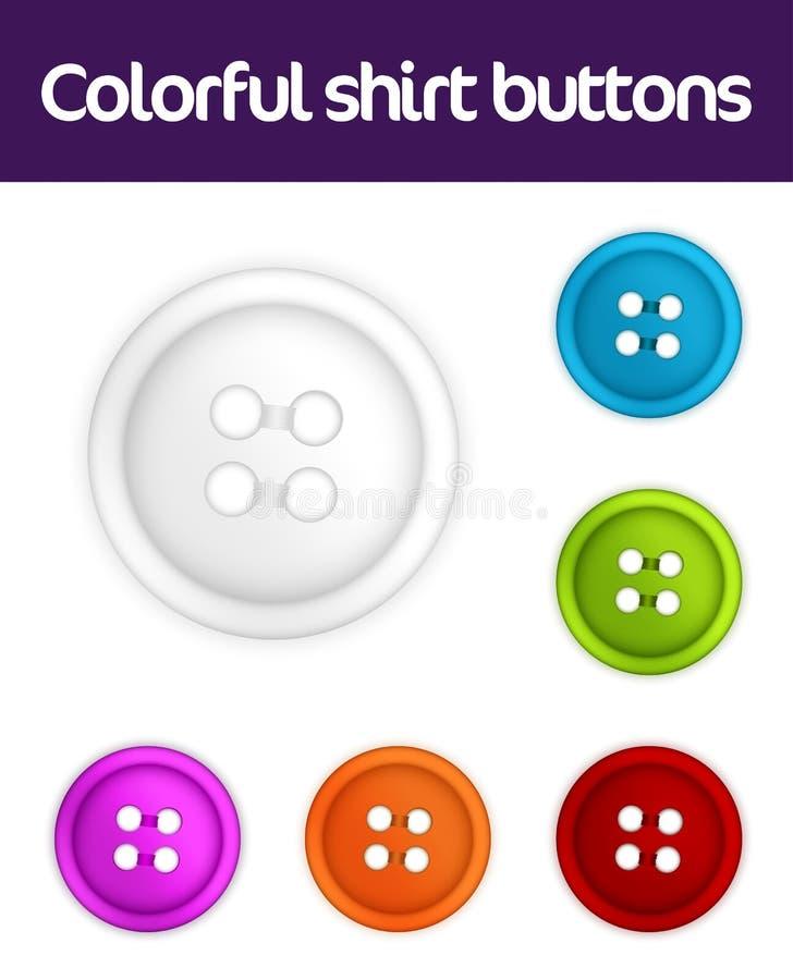 Coleção colorida de teclas de camisa ilustração royalty free