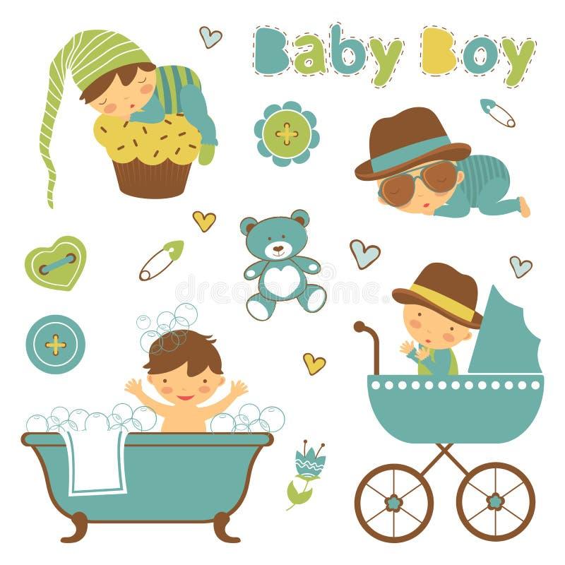 Coleção colorida do anúncio do bebê ilustração stock