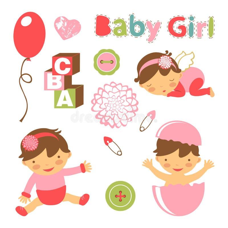 Coleção colorida do anúncio do bebê ilustração do vetor