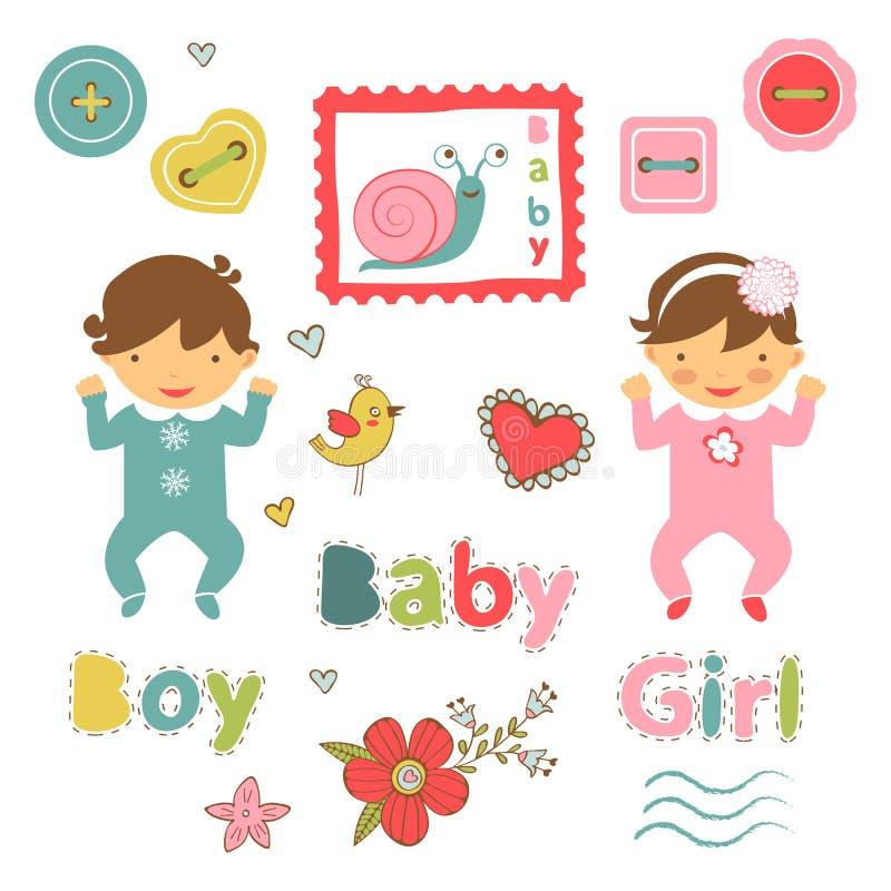 Coleção colorida do anúncio do bebê ilustração royalty free